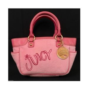 JUICY COUTURE Pink Velour w/Pink Leather Trim Tote